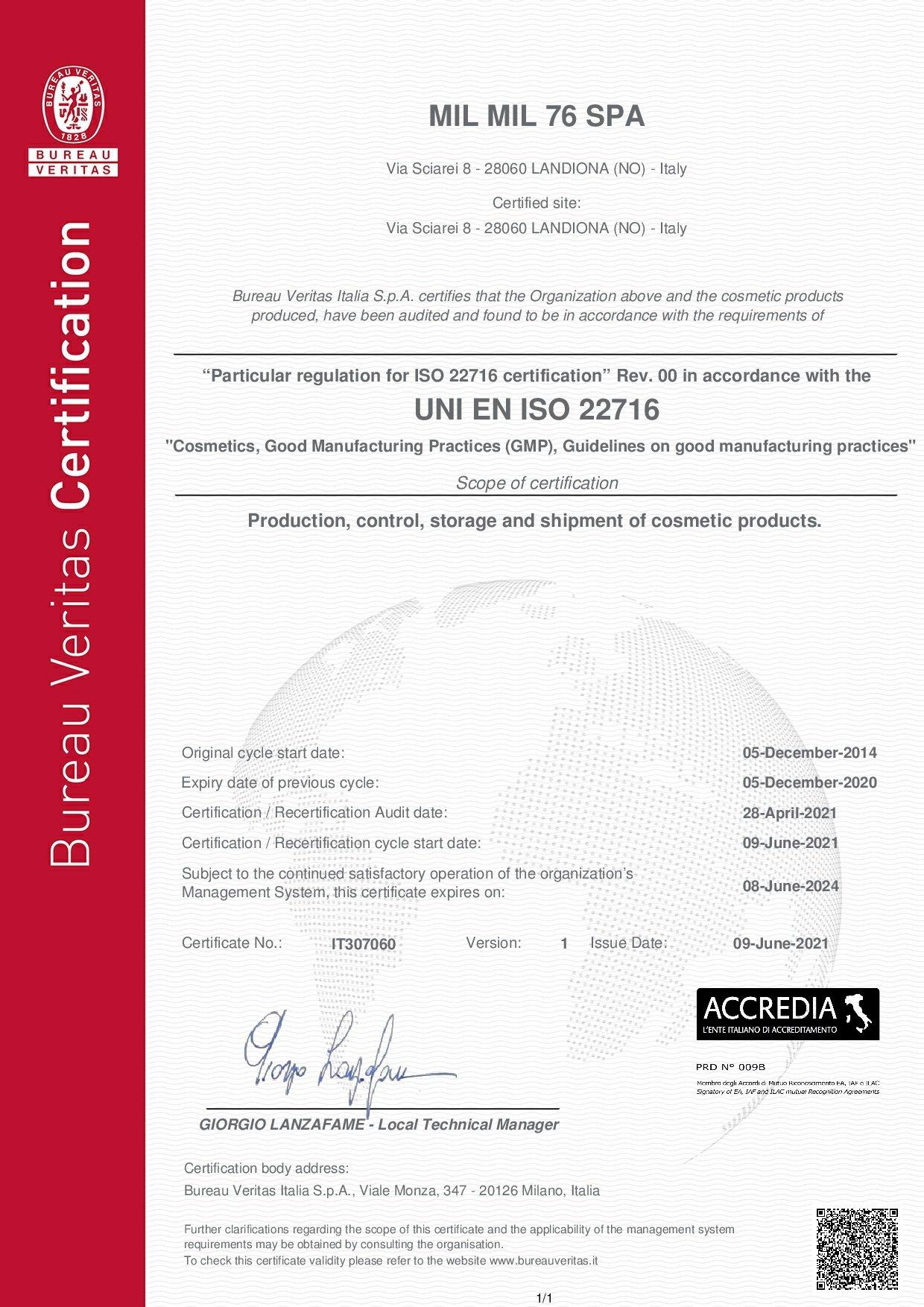 Certificate IT307060 - MIL MIL 76 SPA - ISO 22716 - VER1 - ING